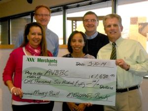 Apple Valley High School Booster Club donation from Merchants Bank