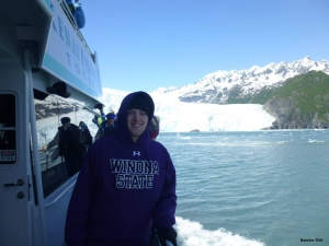 Tayler Swanson, Electronic Banking Representative at Merchants, on a trip to Alaska last summer.