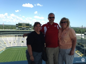 From l-r: Andrea's friend, Linda; her husband, Jeff and Andrea take in Lambeau Field.