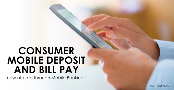 Consumer deposit, mobile bill pay