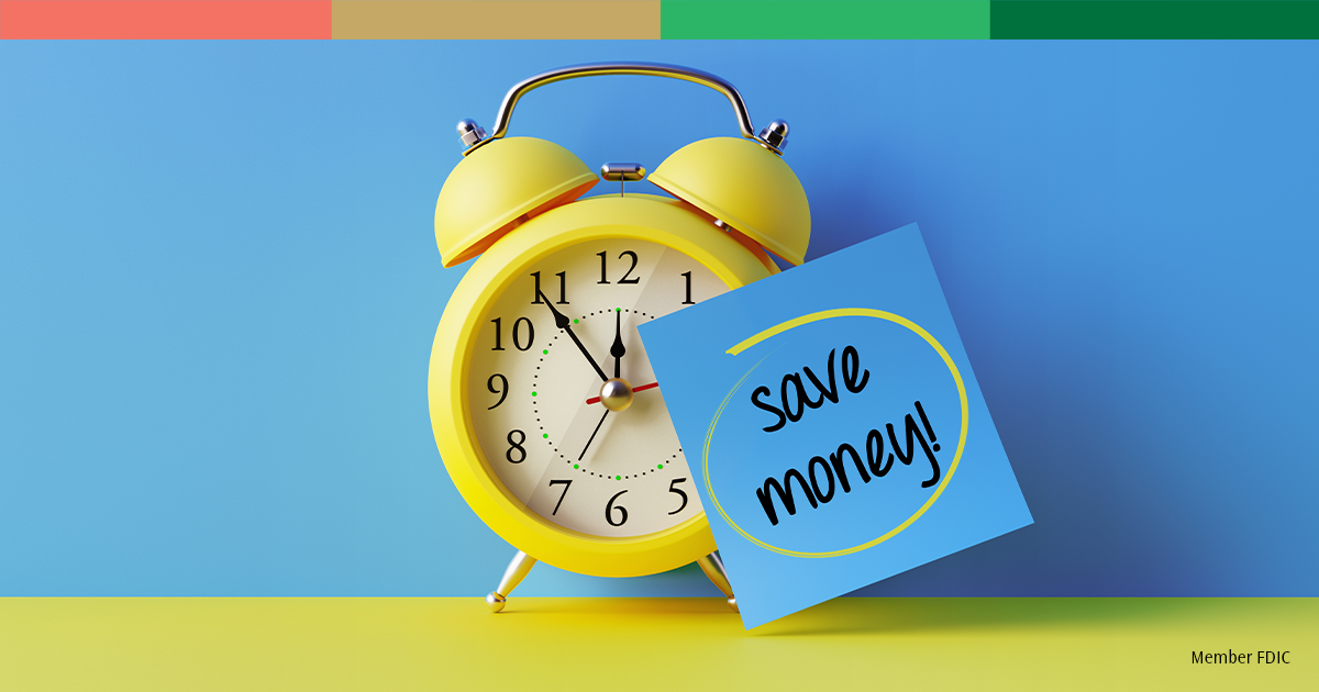 Clock and save money note